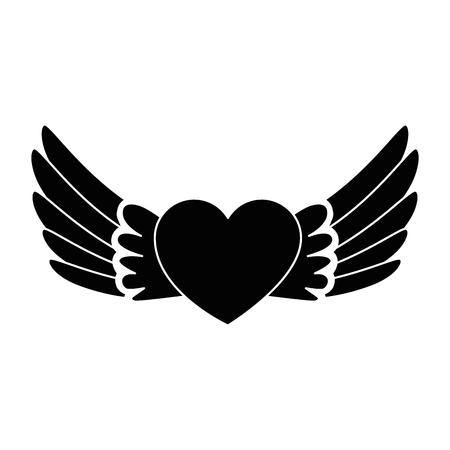 Coeur avec des ailes voler conception illustration vectorielle Banque d'images - 93716444