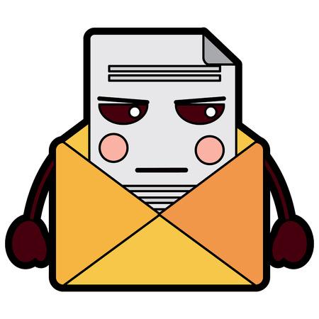 이메일 봉투 편지 메시지 만화 벡터 일러스트 레이션 디자인 일러스트