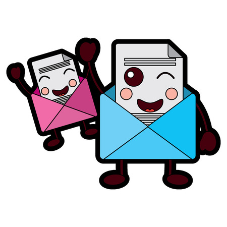 pair email envelope cartoon characters vector illustration design