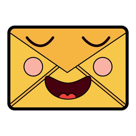 Mail envelope character smiling vector illustration. Illustration
