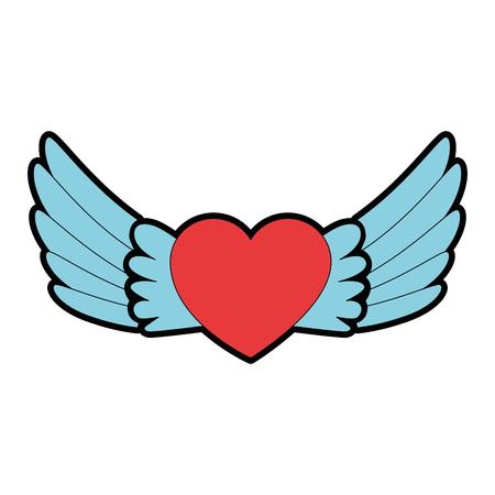 Hart met vleugels die vectorillustratieontwerp vliegen. Stock Illustratie