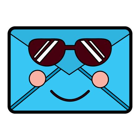 Mail envelope character cartoon vector illustration design.