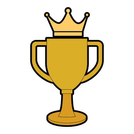 trophy cup with crown championship award vector illustration design