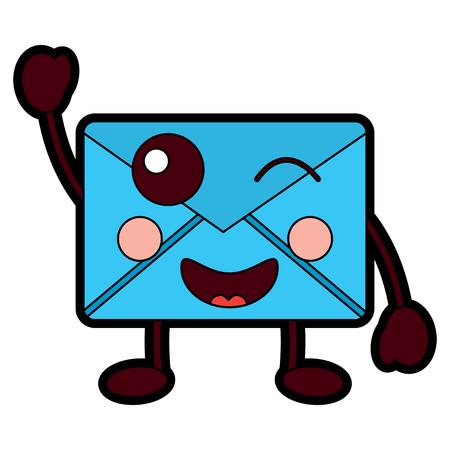 mail envelope character cartoon vector illustration design