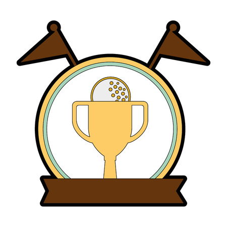 golf trophy cup championship award icon vector illustration design Illustration