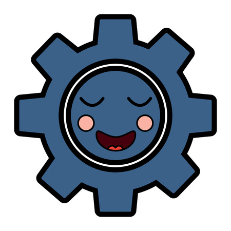 gear machinery piece cute  cartoon vector illustration 向量圖像
