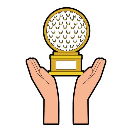 Hands with golf ball championship award icon vector illustration design. Illustration