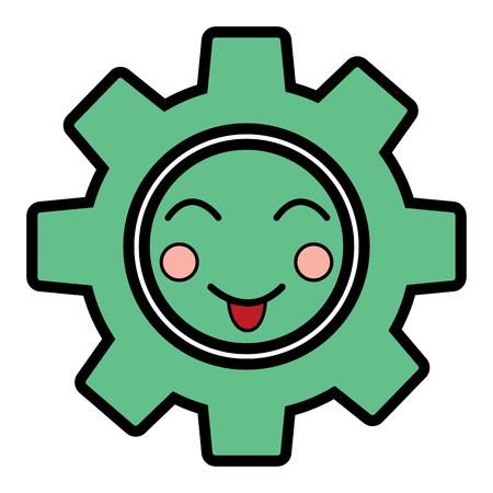 Gear machinery piece cute cartoon vector illustration. Illustration