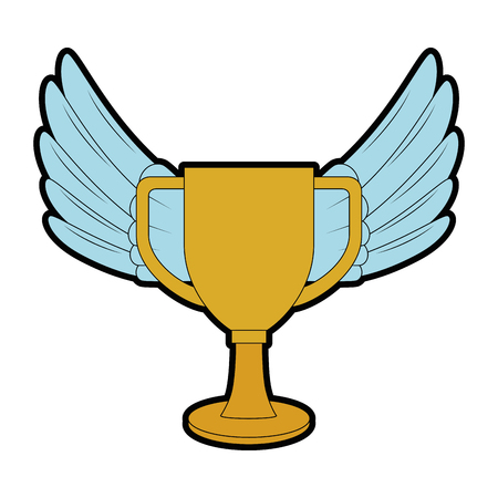 Trophy cup with wings championship award vector illustration design.