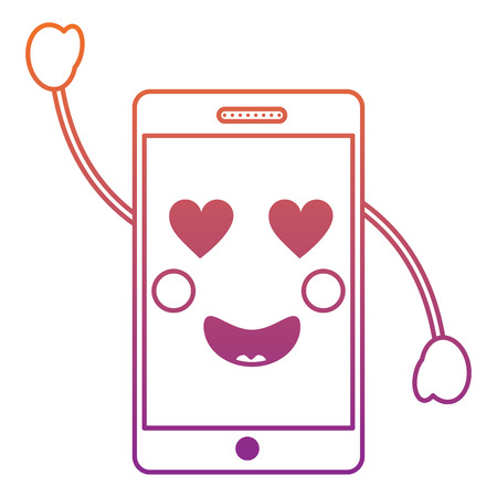 Cellphone heart eyes icon image vector illustration design red to purple ombre line.