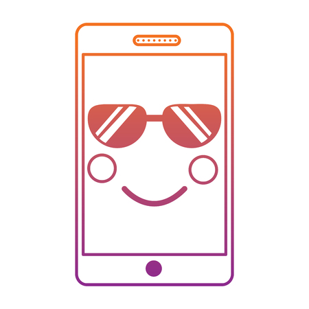 mobile phone character emoticon face vector illustration sketch design blur line gradient design