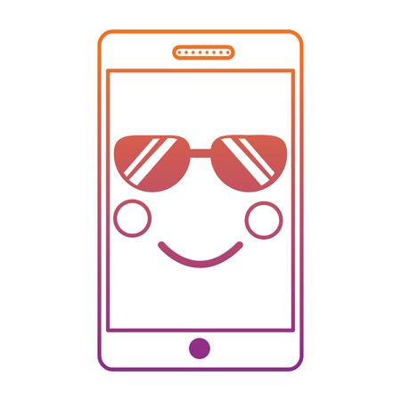 mobile phone character emoticon face vector illustration sketch design blur line gradient design