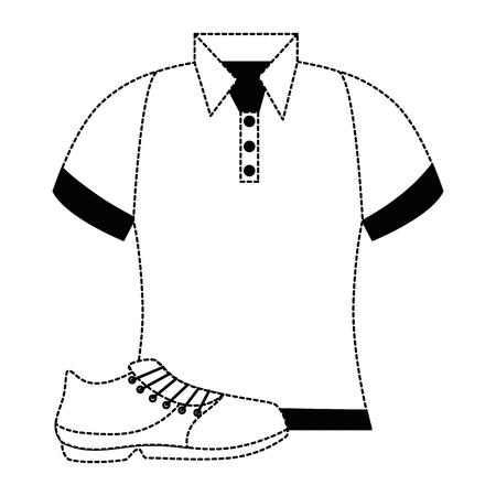 golf shirt uniform with shoe vector illustration design