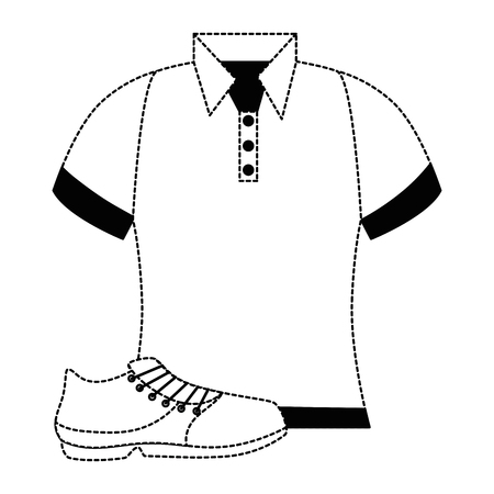 golf shirt uniform with shoe vector illustration design