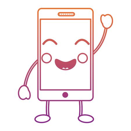 ハッピー携帯電話アイコン画像ベクトルイラストデザイン赤から紫のオンブレライン。  イラスト・ベクター素材