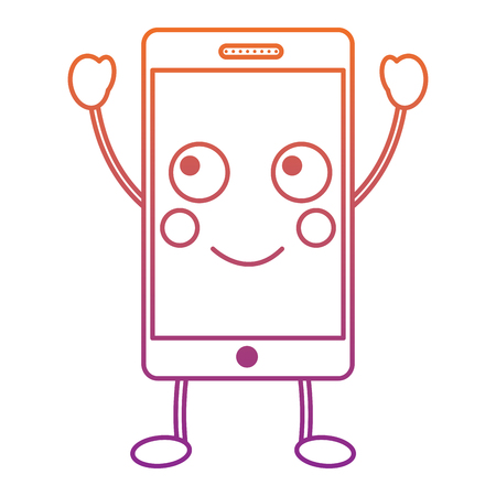 Happy cellphone icon image vector illustration design red to purple ombre line.