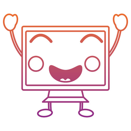 happy computer monitor icon image vector illustration design red to purple ombre line Illustration