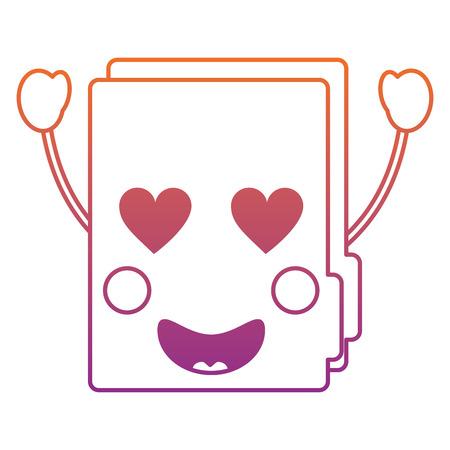 file folder heart eyes kawaii icon image vector illustration design red to purple line Ilustrace
