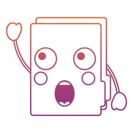 surprised file folder  icon image vector illustration design red to purple ombre line Illustration