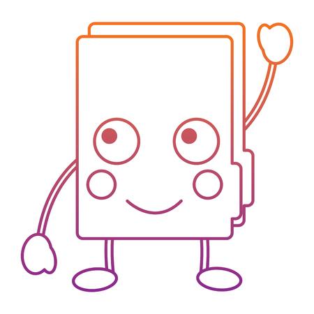 happy file folder  icon image vector illustration design red to purple ombre line