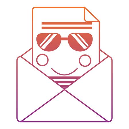선글라스 아이콘 이미지 벡터 일러스트 디자인 보라색 ombre 라인으로 메시지 봉투