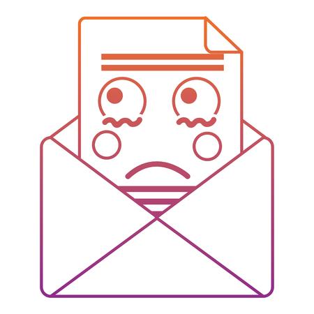 슬픈 메시지 봉투 아이콘 이미지 벡터 일러스트 레이 션 디자인 빨간색 보라색 ombre 라인 일러스트