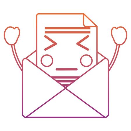 화가 메시지 봉투 아이콘 이미지 벡터 일러스트 디자인 빨간색 자주색 ombre 줄 스톡 콘텐츠 - 93727286