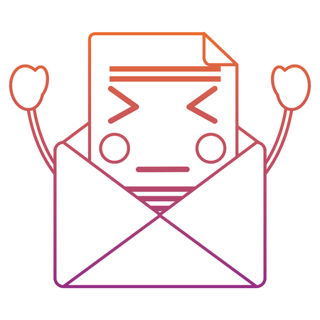 angry message envelope   icon image vector illustration design red to purple ombre line