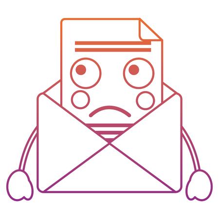 sad message envelope   icon image vector illustration design red to purple ombre line
