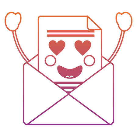 message envelope heart eyes   icon image vector illustration design red to purple ombre line