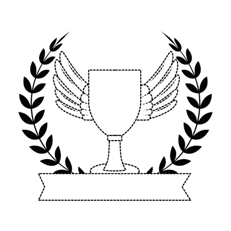 trophy cup emblem championship award vector illustration design