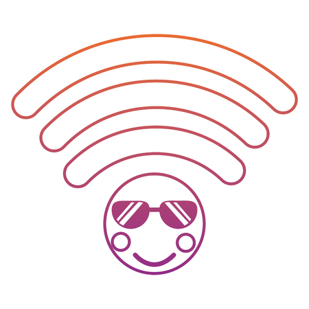 wifi with sunglasses   icon image vector illustration design red to purple ombre line