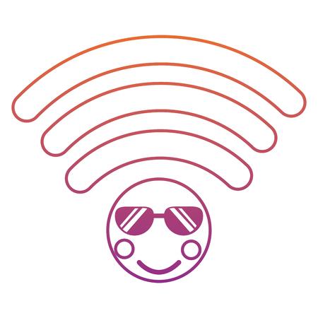 wifi met zonnebril pictogram afbeelding vector illustratie ontwerp rood tot paars ombre lijn
