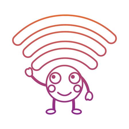 cartoon wifi internet signal   character vector illustration blur line gradient design