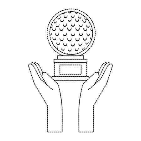 Handen met golfbal kampioenschap award pictogram vector illustratie ontwerp Stockfoto - 93842510