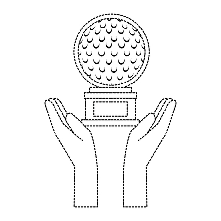 hands with golf ball championship award icon vector illustration design Çizim