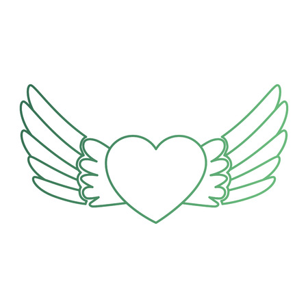 hart met vleugels vliegen vector illustratie ontwerp