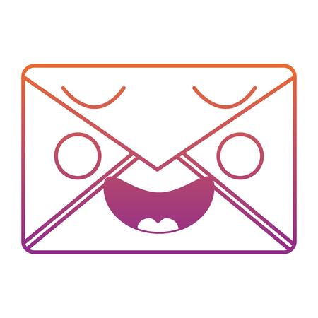 mail envelope   character smiling vector illustration blur line gradient design