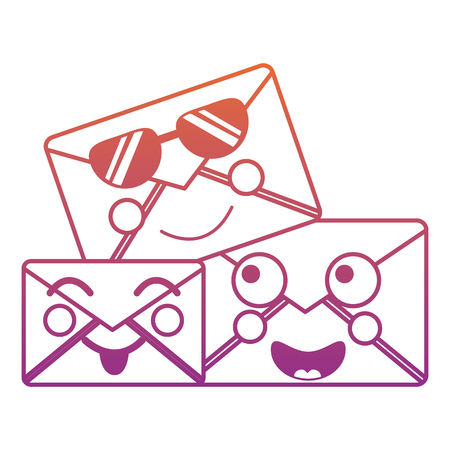 cartoon mail envelope   friendly characters vector illustration blur line gradient design