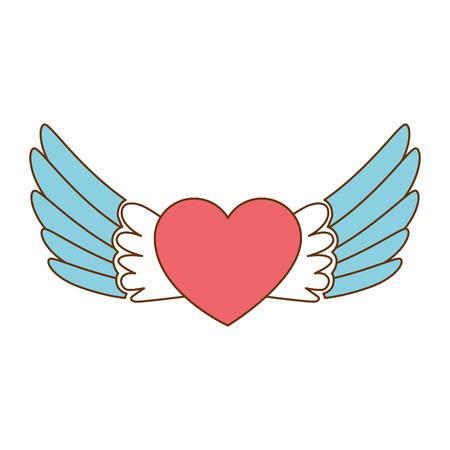 Cuore con le ali che volano progettazione dell'illustrazione di vettore Archivio Fotografico - 93727728