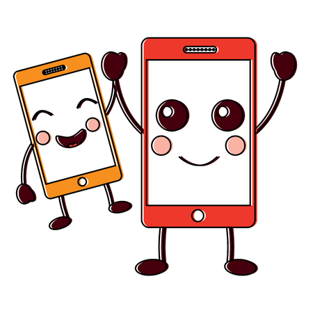 Happy smartphone pair hand in hand cartoon vector illustration. Illustration