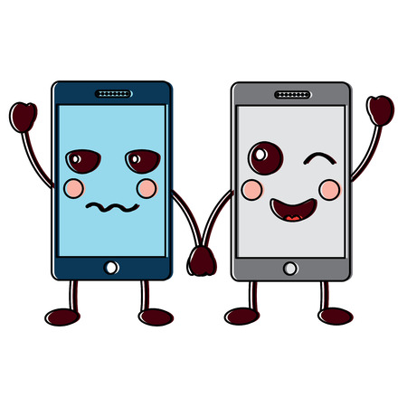 happy smartphone pair hand in hand cartoon kawaii vector illustration