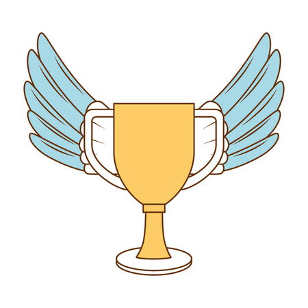 trophy cup with wings championship award vector illustration design Illusztráció