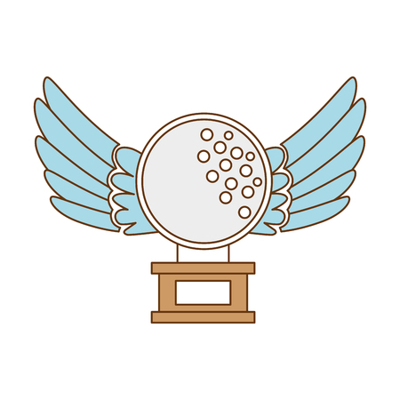 golf ball with wings championship award icon vector illustration design