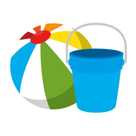 Zandstrandemmer met ontwerp van de ballon het vectorillustratie Stock Illustratie