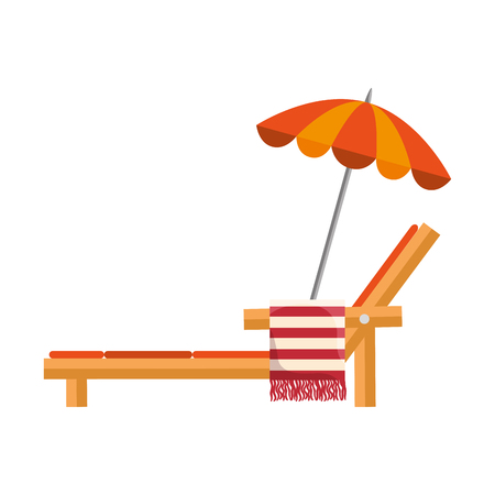 beach chair with towel and umbrella vector illustration design Illustration