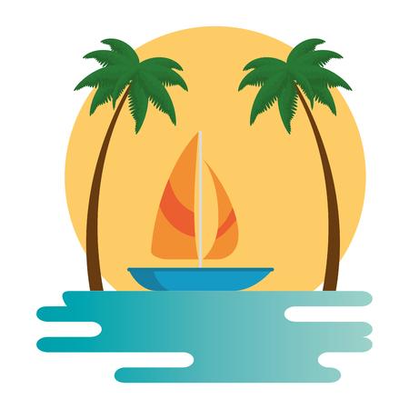 beach landscape scene with sea and sailboat vector illustration design Imagens - 93952871