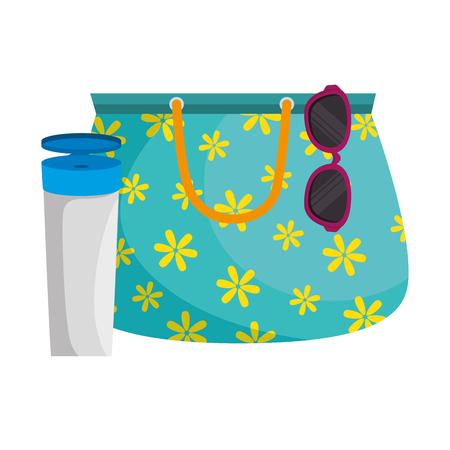 Handbag female with sunglasses and sunscreen vector illustration design