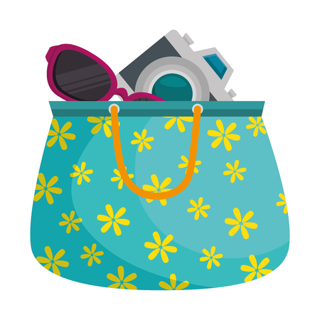 handbag female with camera and sunglasses vector illustration design Illustration