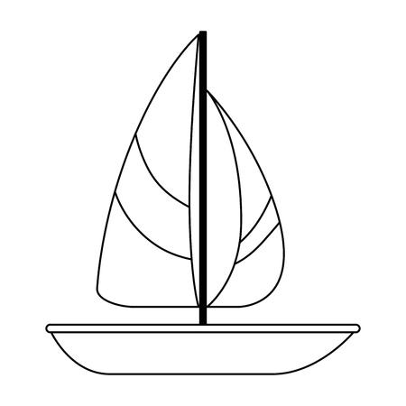 Een zeilboot geïsoleerd ontwerp van de pictogram vectorillustratie